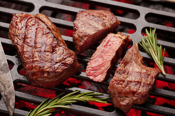 Printed roller blinds Steakhouse Beef steaks cooking on grill