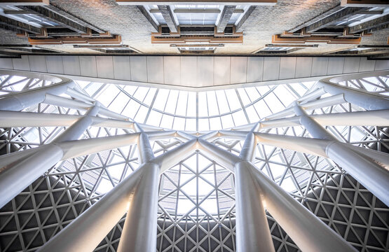 Directly Below Shot Of Skylight In Building