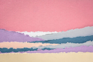 landscape in pink and blue tones  - a collection of colorful handmade Indian papers produced from recycled cotton fabric