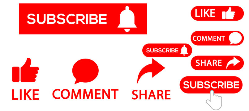 SUBSCRIBE ICON WITH LIKE, COMMENT AND SHARE ICONS