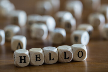 Hello written with wooden cubes