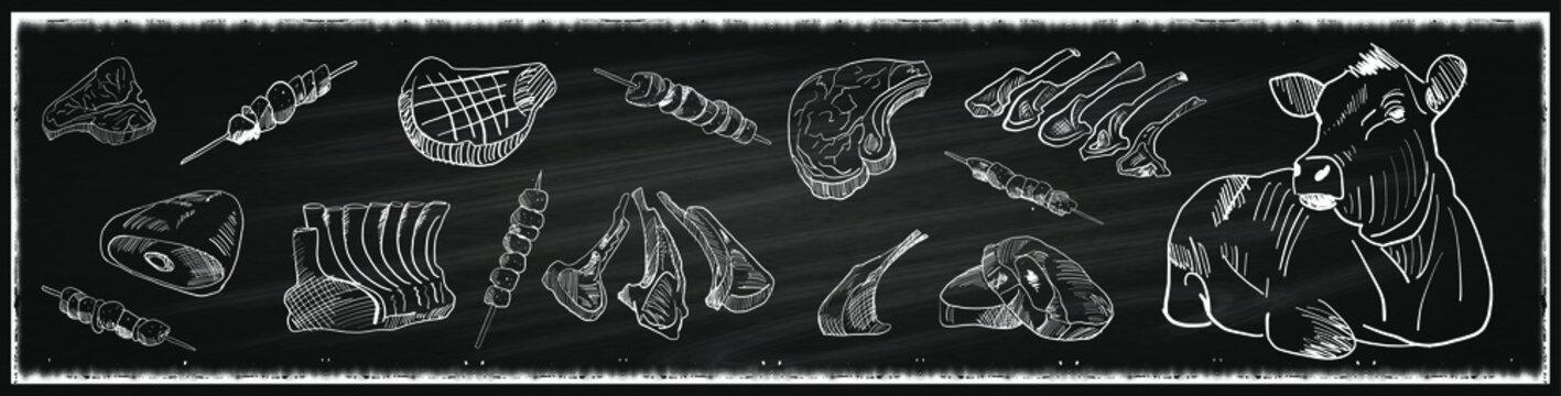 Butcher shop blackboard Cut of Beef Meat. Butchery Cow Food Chalk Board Shop. Retro Menu Restaurant poster. Vector.