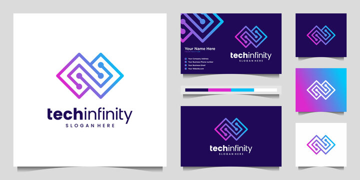 Creative tech infinity line. Modern Infinity Symbol, Technology dot, Premium logo design and business card vector.