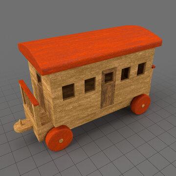 Wooden toy train passenger car