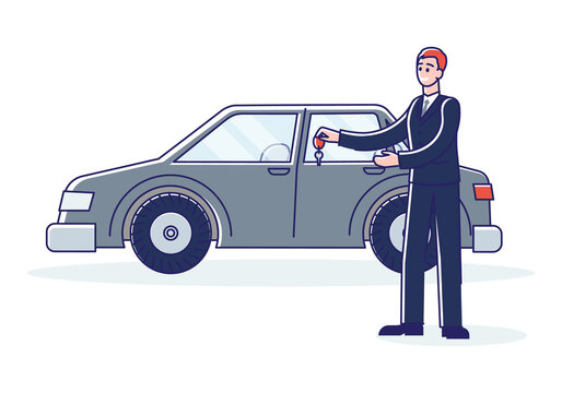 Car dealer holding keys of new auto or vehicle for rent. Car dealership company concept
