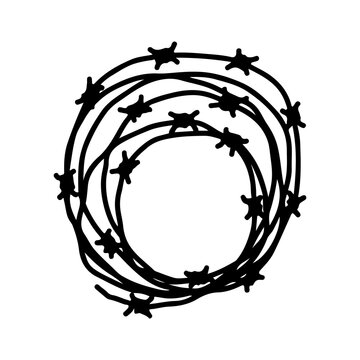 Barbed wire icon. Hand drawn vector flat graphic illustration. Isolated object on a white background. Isolate.