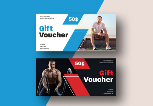Modern Gift Voucher Layout with Diagonal Line Elements
