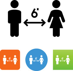 Physical Social Distancing Man And Woman Vector Icon