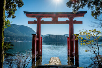 Torii Gate By Lake Against Sky