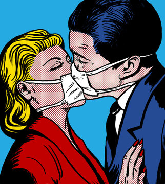 kissing couple with antiviral medical mask, in the style of 60s comic books, pop art