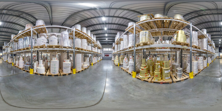Minsk, Belarus - may, 2020: Full spherical seamless hdri panorama 360 degrees in interior of large goods warehouse with shelves of system storage in equirectangular projection.