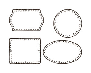 Vector set of Hand Drawn doodle Frames for Photo, Pictures or Text