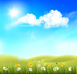 Summer nature background with landscape and blue sky with clouds. Vector