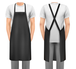 Black cotton kitchen apron set. Design template, mock up for branding, advertising etc. Vector illustration.