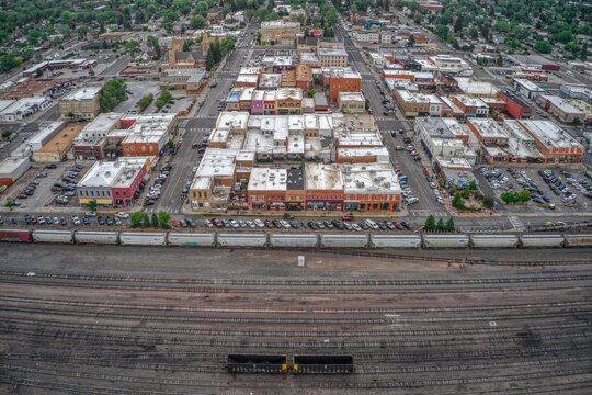 Aerial View of Downtown Laramie, Wyoming in Summer