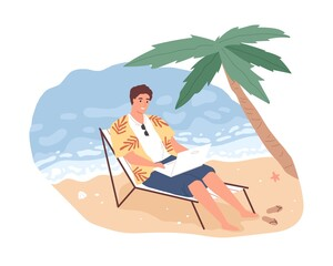 Joyful freelancer male working remotely on beach use laptop vector flat illustration. Smiling man on chaise-longue chatting or surfing internet isolated. Cheerful modern guy relaxing enjoy vacation