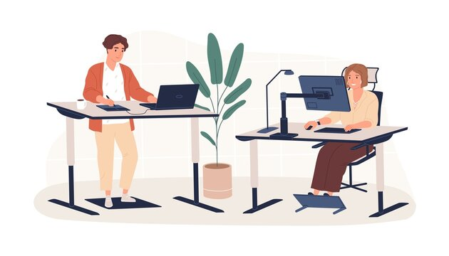 People working at modern ergonomic workplace vector flat illustration. Man and woman employees sitting and standing behind innovative furniture isolated on white. Contemporary workspace interior