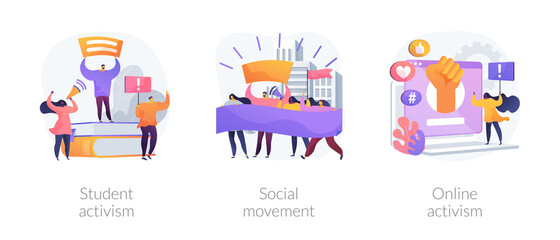 Political and social change abstract concept vector illustration set. Student and online activism, social movement, big crowd, mass protest, group action, digital communication abstract metaphor.
