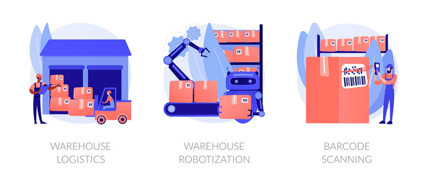 Manufacture management and modern technology implementation metaphors. Warehouse logistics, product storage robotization, barcode scanning abstract concept vector illustration set.