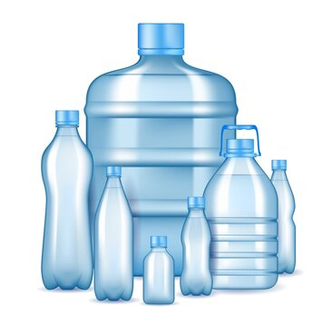 Realistic plastic water bottles, vector illustration. Pure drinking water packaging bottles of various sizes and shapes for cooler dispenser and retail.