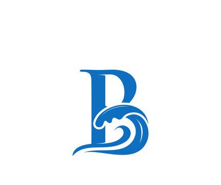 Surf beach letter b logo design template