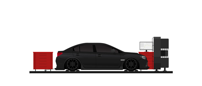Racing car on dyno stand. Flat vector.