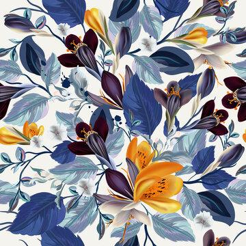 Elegant vintage vector seamless floral pattern with crocus flowers and blue leaves