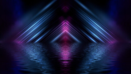 Fotomurales - Dark modern futuristic neon background. Rays and lines of light. Night view of an empty scene with neon lights. Reflection in the water of bright light.