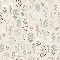 Keuken foto achterwand Kunstmatig Floral seamless pattern with abstract flowers, branches, leaves, pine cones and plants, botanical vector illustration in vintage style.