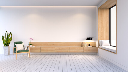 Modern And Minimalist  Interior Of Living Room  ,wood Tv Cabinet With Green Easy Chair On White Wall - fototapety na wymiar