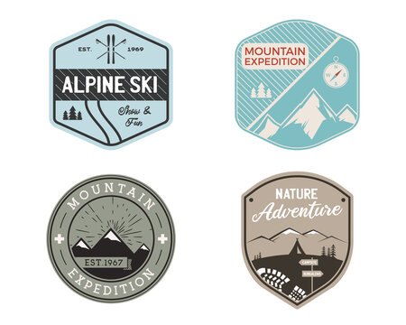 Vintage mountain ski badges logos set, Mountain adventure stickers. Hand drawn emblems bundle. Skiing, travel expedition labels. Outdoor hiking designs. Logotypes collection. Stock vector.