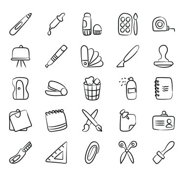 Stationery and Office Supplies Doodle Icons Pack