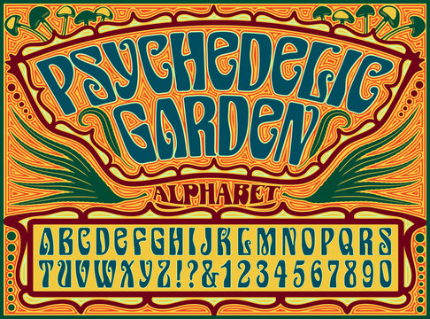 A Psychedelic 1960s Style Hippie Alphabet with an Ornate Background Design Incorporating Cannabis Leaves and Psilocybin Mushrooms