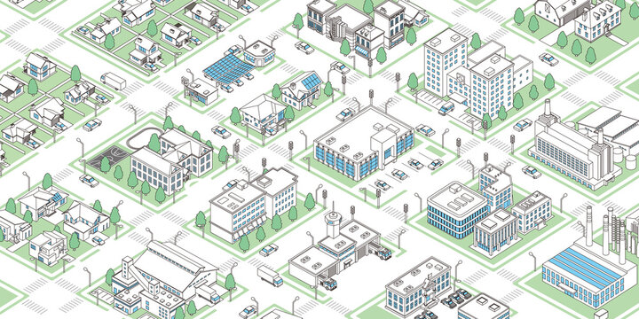 Isometric vector data town illustration