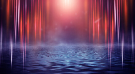Fotomurales - Dark neon background with rays and lines. Night view, reflection in the water of neon light. Abstract dark scene, vertical lines.