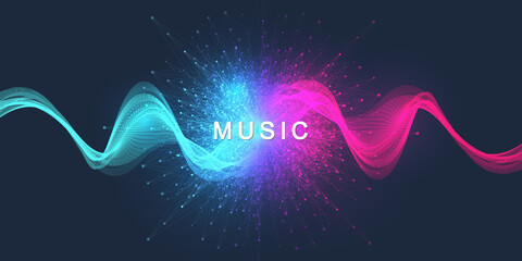 Abstract motion sound wave lines and dots dynamic vector background. Spiral pulse sound wave rhythm. Music wave poster design.