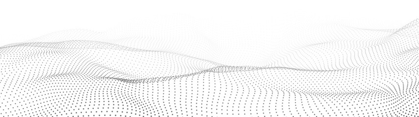 Abstract gradient dynamic wave of particles. Network of bright points or dots. Big data. Digital background. Vector
