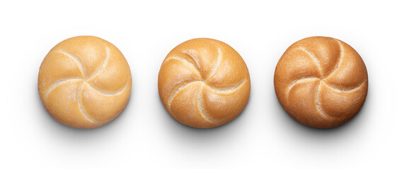 Perfect buns on white with clipping path