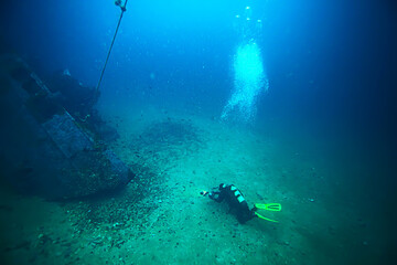 Foto auf Acrylglas Schiffbruch shipwreck diving landscape under water, old ship at the bottom, treasure hunt