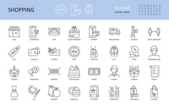 Vector icons of shopping, e-commerce. Editable Stroke. Shop delivery free shipping cart, loyalty program. Payment coupon sale money, cash register, discount. New gift package box support toy grocery