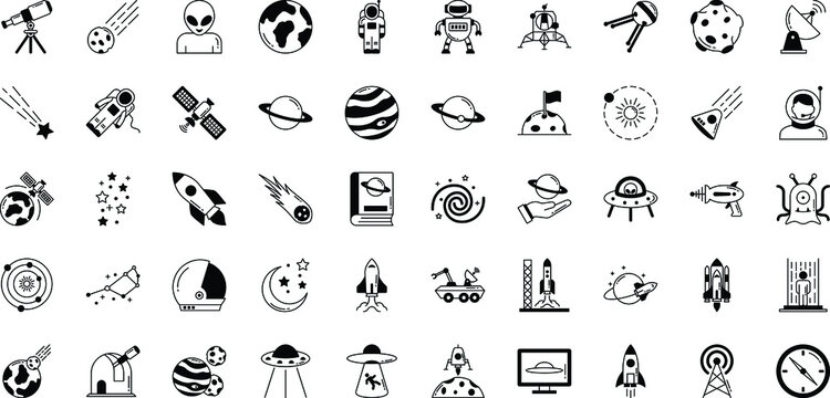 Space and Planets Isolated Vector icons set every single icons can be easily modified or edit this set consist with Collision, comet, Alien, fiction, science, ship, ufo, screen, Communication, radio,