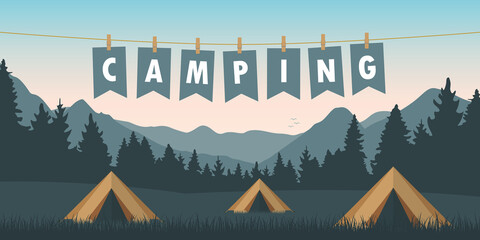 summer camp tents on green meadow with mountain view vector illustration EPS10