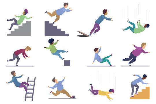 Set of falling male isolated. Falling from chair accident, falling down stairs, slipping, stumbling falling man vector illustration