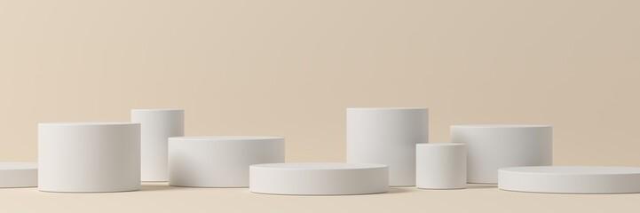 Fototapeta Minimal background, mock up scene with podium geometry shape for product display. 3D rendering obraz