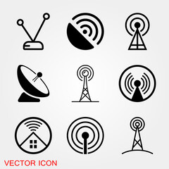 Antenna icon. Radar satellite dish - Vector icon