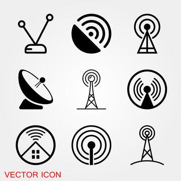 Antenna icon. Radar satellite dish - Vector icon