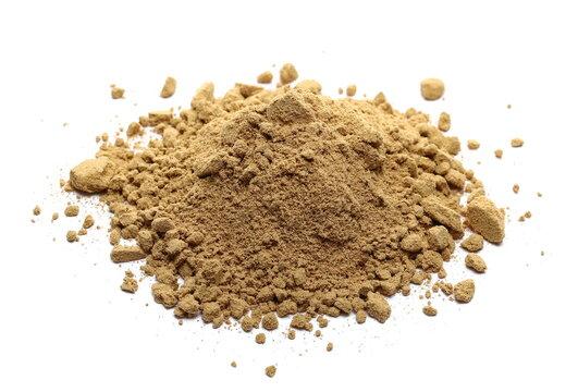 Ginger root powder isolated on white background, Zingiber officinale