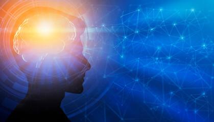 Male Portrait With Illuminated Brain Having Enlightment Moment, Blue Background