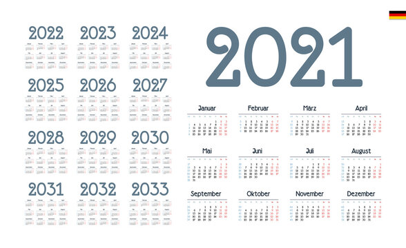 German Calendar for 2021-2033. Week starts on Monday