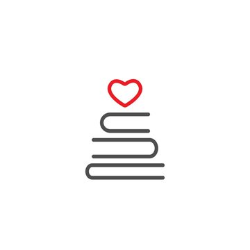 Stack of books with heart. line icon isolated on white background.
